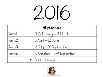 2016 South African School Calendar