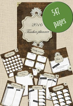 2016 Teacher Planner with over 500 pages - Rustic French I