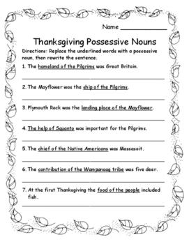 2016 Thanksgiving Activities Language Arts Singular and Pl