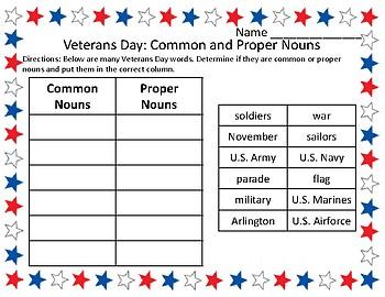 Veterans Day Grammar Activities Word Sort Common & Proper