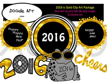 2016 is Gold Clipart Pack