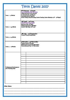 2017 School Calendar + Term Dates NSW
