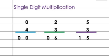 203 Animated Slides Single Digit Multiplication (up to 7 times 7)