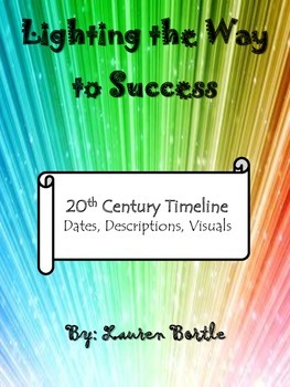 20th Century Timeline Activity - dates, descriptions, and visuals