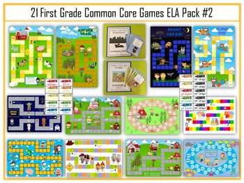 21 ELA First Grade Folder Games - Common Core Pack #2 -  W
