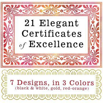 21 Elegant Certificates of Excellence (7 Designs in 3 Colo