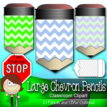 21 Large Printable Chevron Pencils - Colorful and Outlined