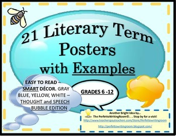 21 Literary Term Posters with Examples (Grades 6-12) and I