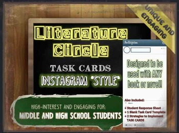 Instagram Task Cards for Literature Circles - 21 Engaging,