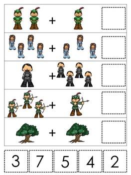 21 Robin Hood themed preschool games and worksheets bundle.