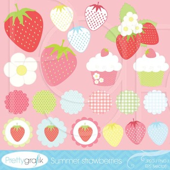 21 summer strawberry clipart commercial use, vector graphi