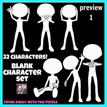 22 Blank Character Clip Art with Speech Bubbles, Draw Face