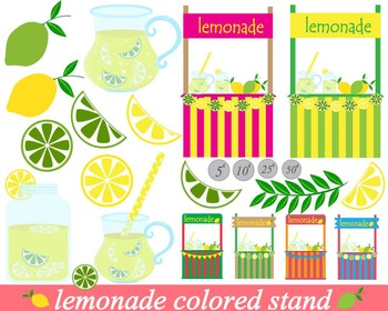 22 PNG Files - Lemonade Stand Clipart Set - Digital Clip Art 020