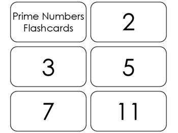 22 Prime Numbers Printable Flashcards. 3rd Grade-5th Grade Math.
