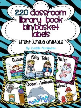 220 Classroom Library Book Bin / Basket Labels {Bright Jun