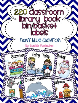 220 Classroom Library Book Bin / Basket Labels {Navy Blue