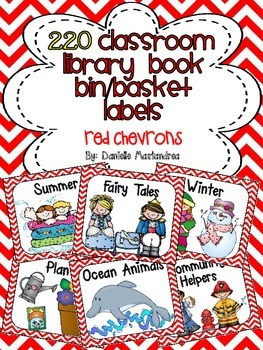 220 Classroom Library Book Bin / Basket Labels {Red Chevrons}