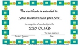 220 Club Sight Word Completion Certificate