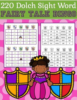 220 Dolch Sight Word Fairy Tale BINGO (Daycare Support by