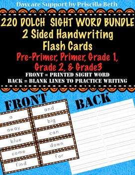 220 Dolch Sight Word Handwriting Flash Cards