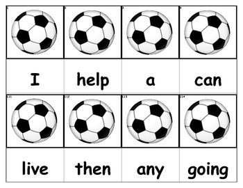 Dolch Words Flashcards - Scoccer Ball
