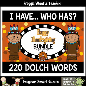 "220 Dolch Words I Have... Who Has? Bundle ""Happy Thanksgiving"""