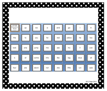 220 High Frequency Words Power Point - Black with White Po