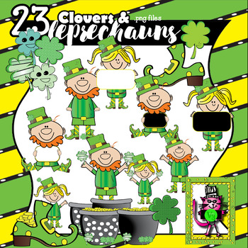 23 Clovers and Leprechauns for St. Patrick's Day - clip ar