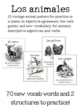 23 Vintage Animals Posters for Spanish Learners: Adjective