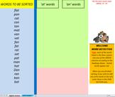 23 digital and print word sorts, single syllable, short vo