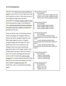 24-27 CP1 Parentheticals Quiz / ACT-SAT-CCR Test Practice