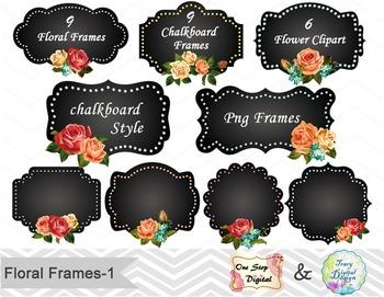 24 Chalkboard Digital Frame Clip Art Floral Frame Flower L