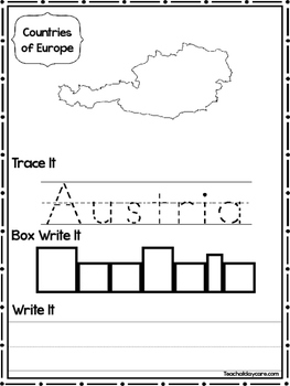 24 Countries of Europe Worksheets Geography Curriculum.