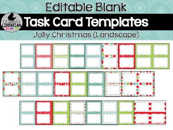 24 Editable Task Card Templates Jolly Christmas (Landscape