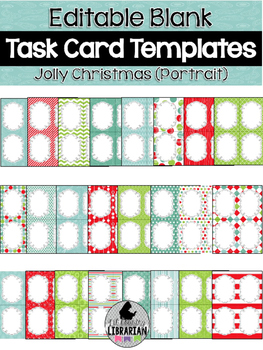 24 Editable Task Card Templates Jolly Christmas (Portrait)