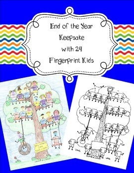 24 Fingerprint Kids End of the Year and Autograph Memory Page