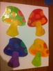 """28 Hand-Painted Mushrooms for Bulletin Board (nearly 5"""" tall)"""