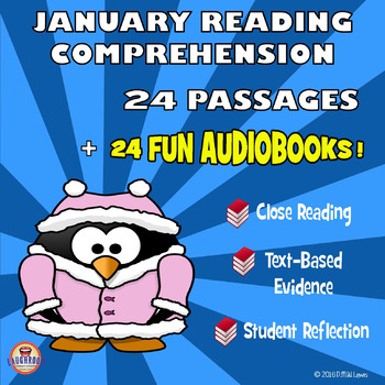 24 FICTION January Reading Comprehension Passages + 24 AUDIOBOOKS
