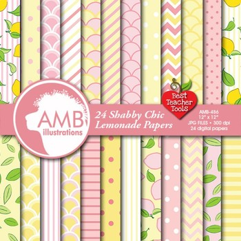 Digital Papers - 24 pink and lemon papers, stripes, dots  AMB-486