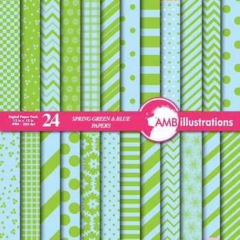 Digital Papers - Mix and Match Green and Blue digital pape