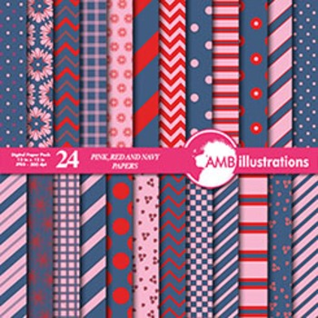 Digital Papers - Mix and Match Red and Navy digital paper,