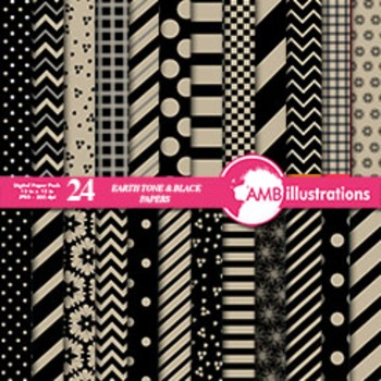 Digital Papers - Mix and Match Beige and Black digital pap
