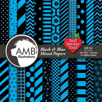 Digital Papers - Mix and Match Blue and Black digital pape