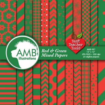 Digital Papers - Christmas Green and Red digital paper, AMB-549