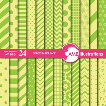Digital Papers - Mix and Match Green and Yellow digital pa