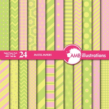 Digital Papers - Mix and Match Pink and Yellow digital pap