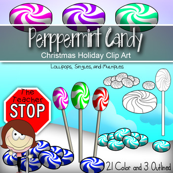 24 Peppermint Candy - Color and Outlined - Christmas Holid