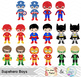 24 Superhero Boys Digital Clip Art, Little Boy Superhero C