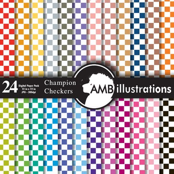 Digital Papers - Pattern papers, checkers digital paper an