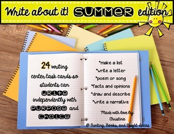24 Write About It Task Cards for Summer